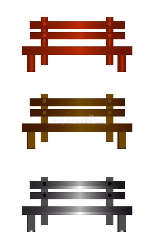 web Banco di legno isolato con il percorso di ritaglio illustrazione di stock