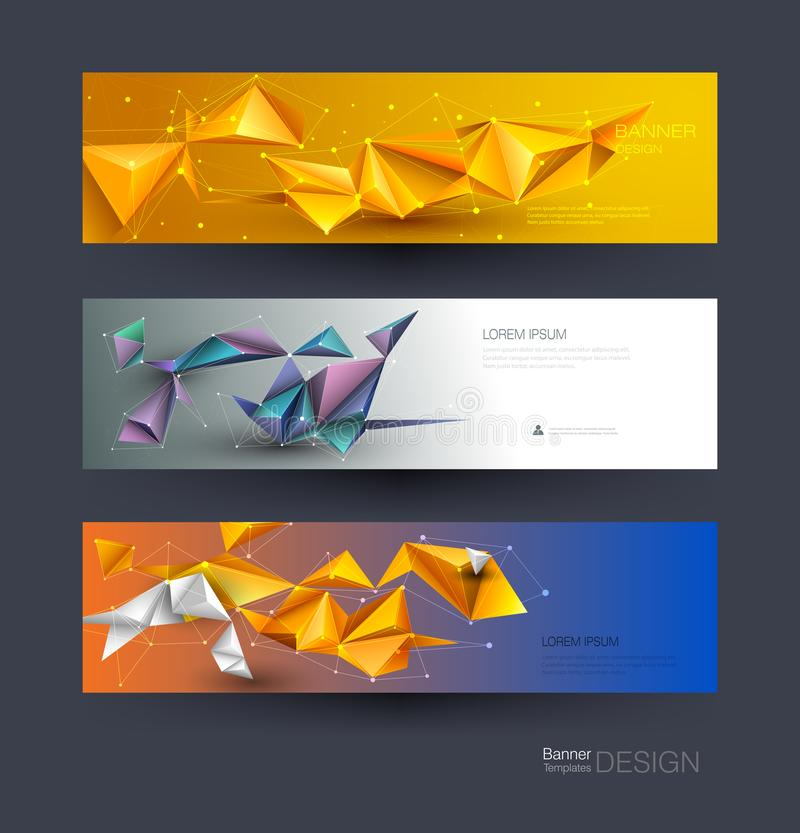 Abstract Molecules banners set with Lines,Geometric,Polygon. Vector design network communication background stock illustration