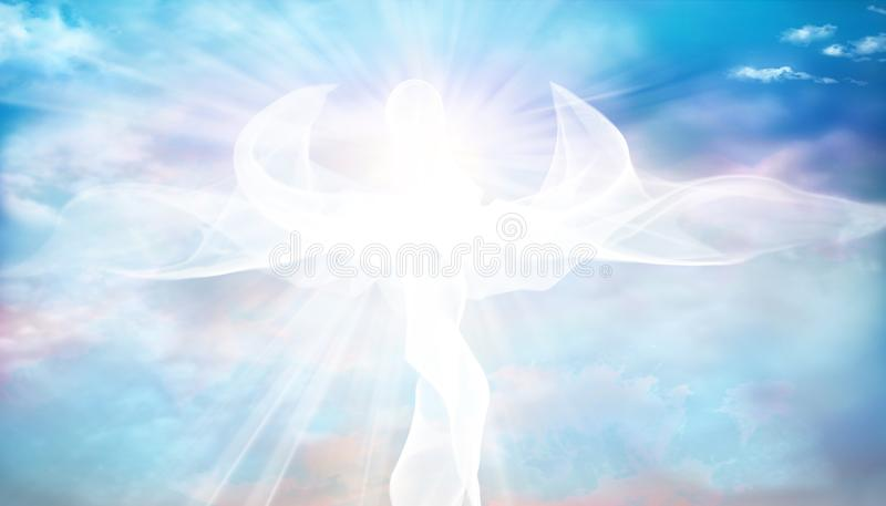 Web banner. Archangel. Heavenly angelic spirit with wings. Illustration abstract white angel. Belief. Afterlife. Spiritual Angel royalty free stock images
