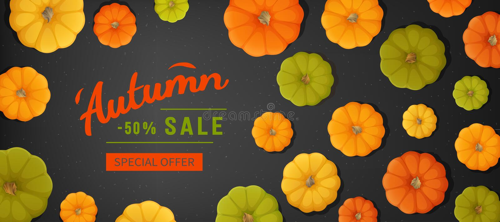 Web banner for Autumn sale. Horizontal banner flyer with pumpkins on a black texture. Special seasonal offer. Top view background. vector illustration