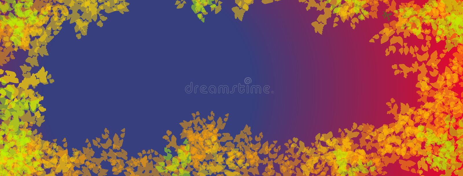 A web banner with a blue and red background and fall colored leaves around border royalty free illustration