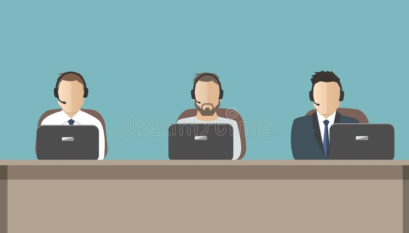 Web banner of call center workers. Technical support service. Young men in headphones sitting at the desk. People icons. Vector illustration vector illustration