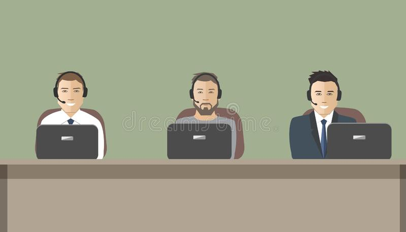 Web banner of call center workers. Technical support service. Young men in headphones sitting at the table. It can be used for websites. Vector illustration stock illustration