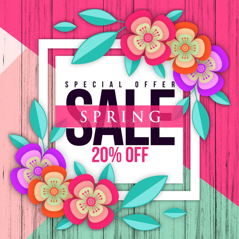 Web banner with colorful paper flowers for spring sales. Illustration of realistic flowers, can be used in the magazine, online, royalty free stock images