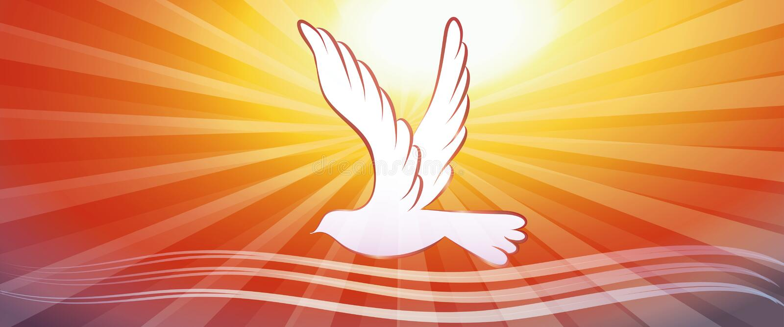 Web banner concept christian baptism with water waves and dove on sunset background. Web banner concept baptism with dove, light rays departing from the center stock illustration