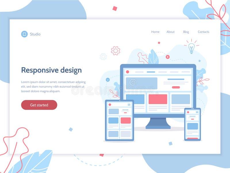 Responsive design web banner stock illustration