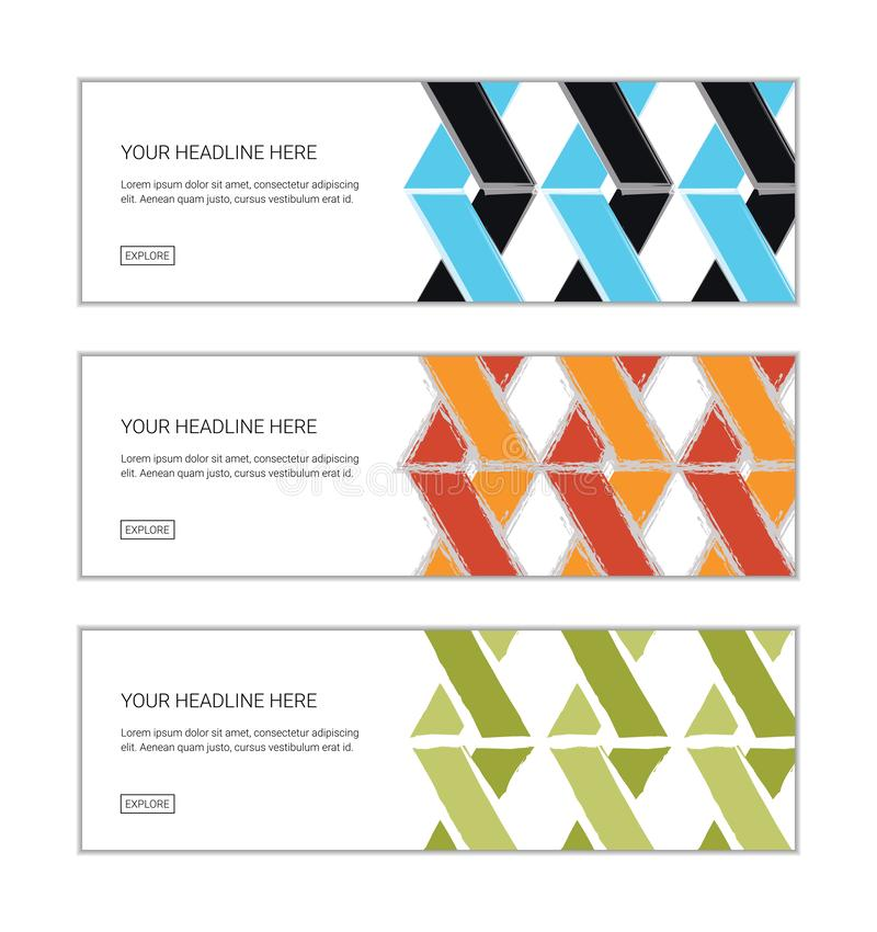Web banner design template set consisting of abstract background patterns stock illustration
