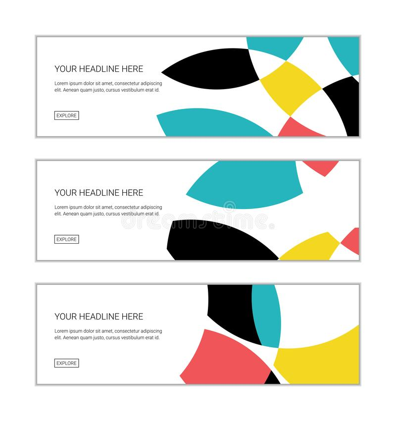Web banner design template set consisting of abstract background patterns made with circular geometric shapes royalty free illustration