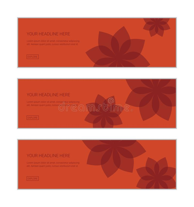 Web banner design template set consisting of abstract backgrounds made with curvy geometric shapes royalty free illustration