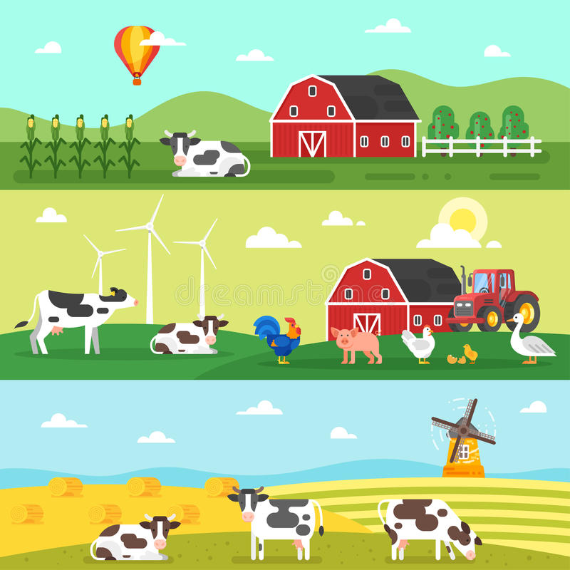 Web banner. Farm, farmers, farm animals. Vector flat style template for web banner. Farm, farmers, farm animals and dairy products stock illustration