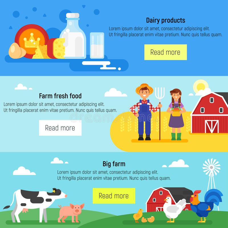 Web banner. Farm, farmers, farm. Vector flat style template for web banner. Farm, farmers, farm animals and dairy products vector illustration