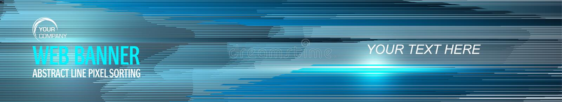 Web banner geometry line design. Pixel sorting style in blue color stock illustration
