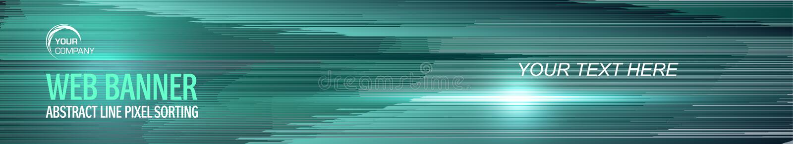Web banner geometry line design. Pixel sorting style in cyan color.  vector illustration