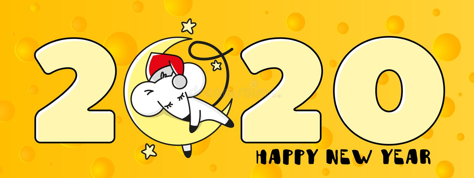 Web Banner for Happy New Year, symbol of 2020 on a background of cheese. The mouse is sleeping on the moon. Template for greeting vector illustration