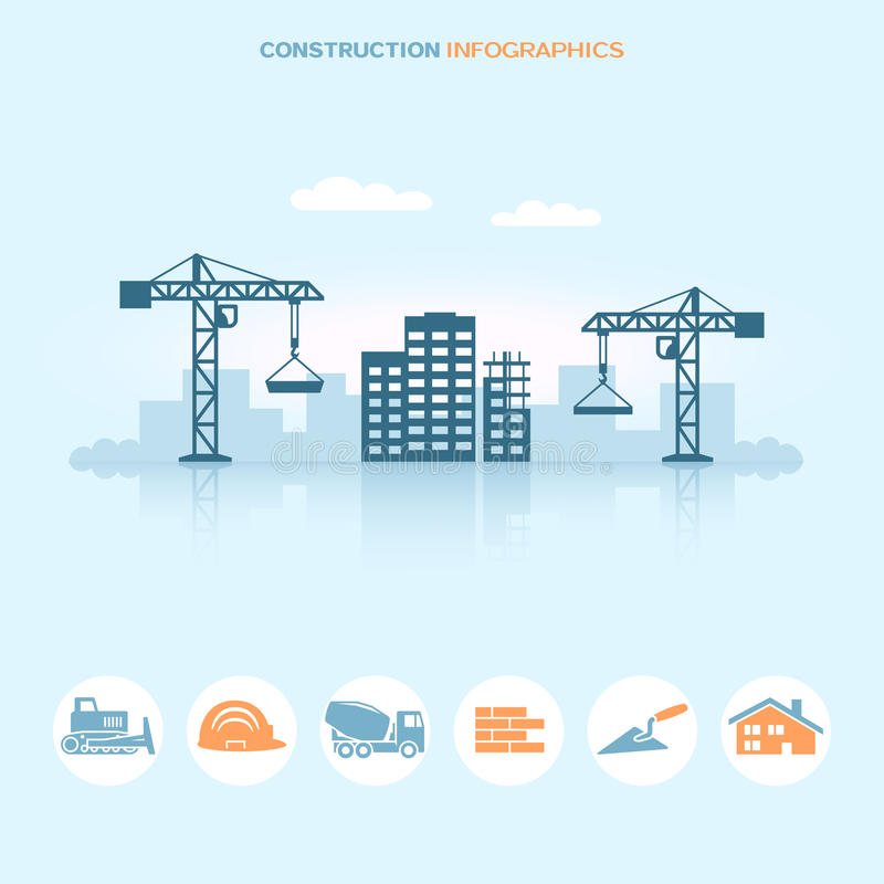 Web banner infographic design with construction site icons. Vector illustration royalty free illustration