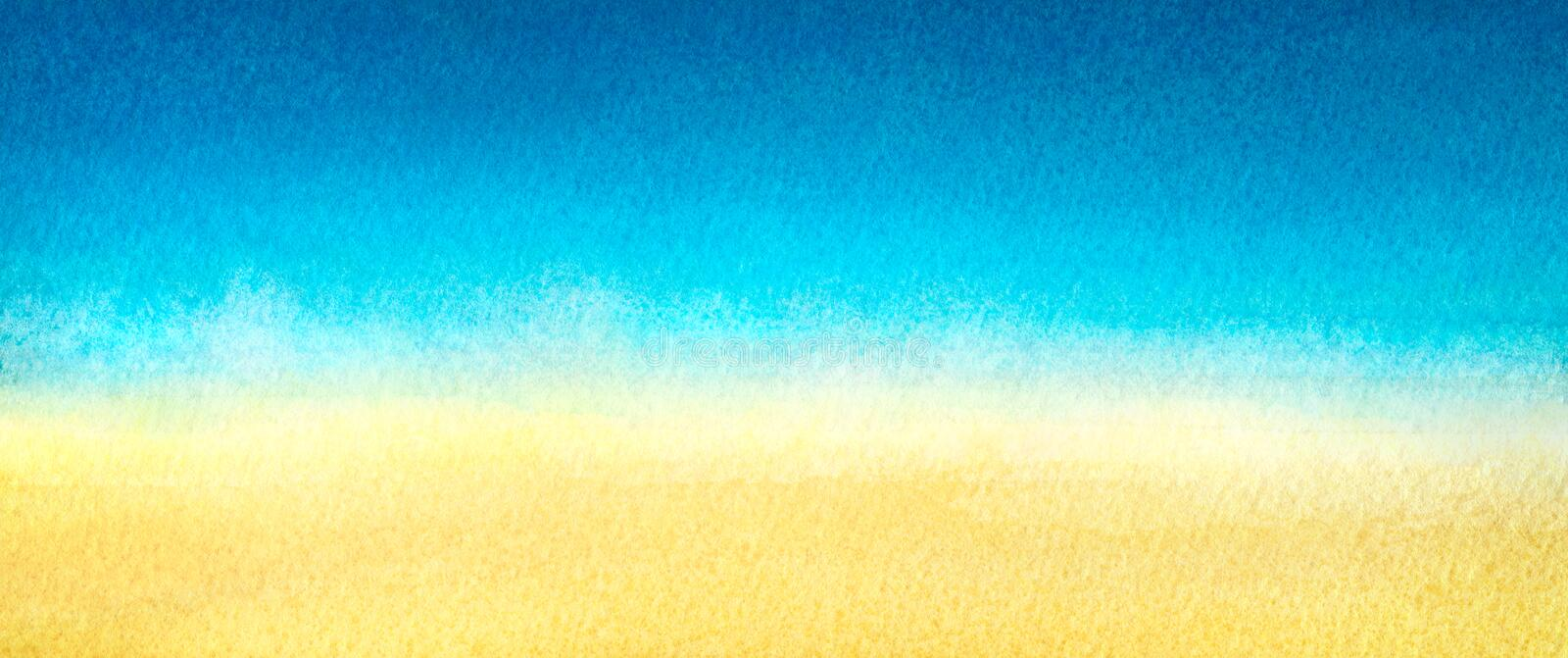 Web banner light blue to warm yellow abstract sea and beach gradient painted in watercolor on clean white background.  stock illustration