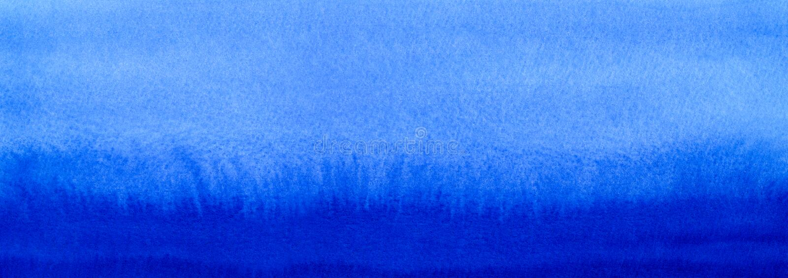 Web banner Marine or navy blue watercolor gradient fill background. Watercolour stains. Abstract painted template with paper textu. Re. Blue sea or sky stock photos