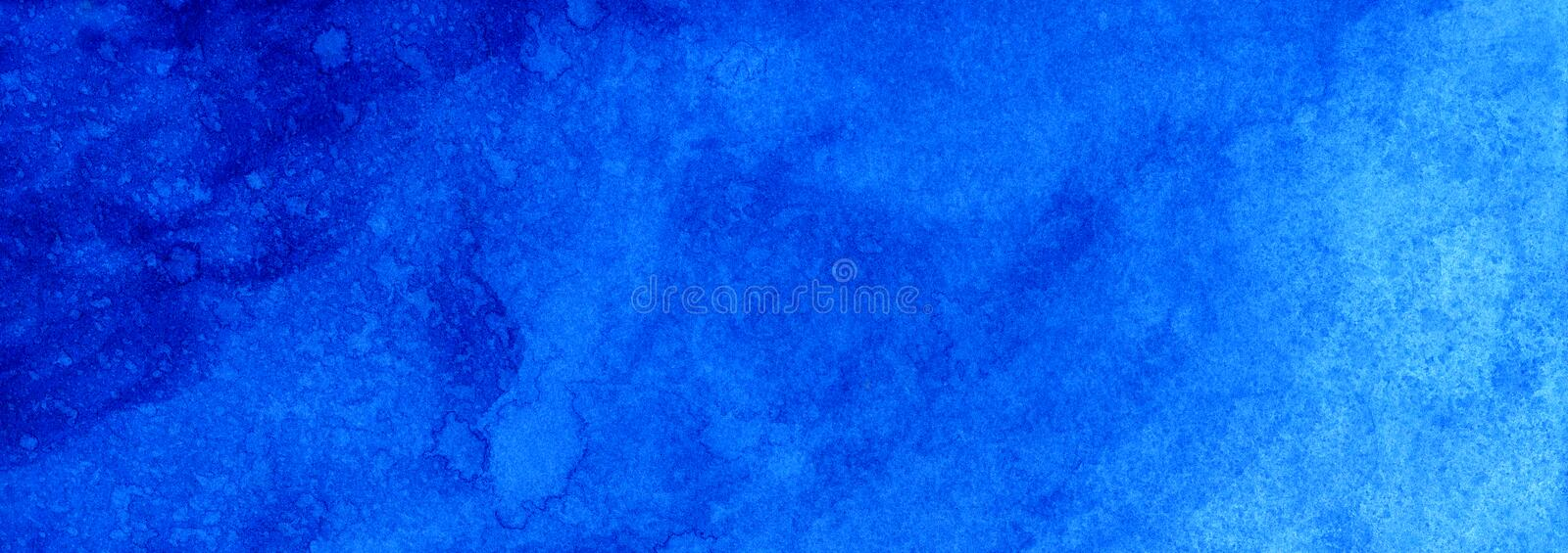 Web banner Marine or navy blue watercolor gradient fill background. Watercolour stains. Abstract painted template with paper textu. Re stock image