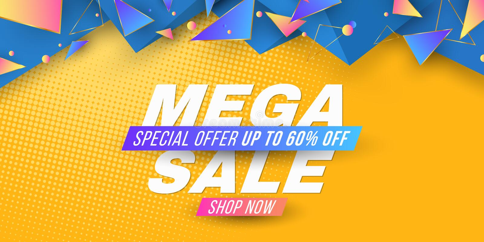 Web banner for Mega Sale. Brochure for your business project. Geometric design from random polygonal shapes in 3D style. Vector. Illustration. EPS 10 royalty free illustration