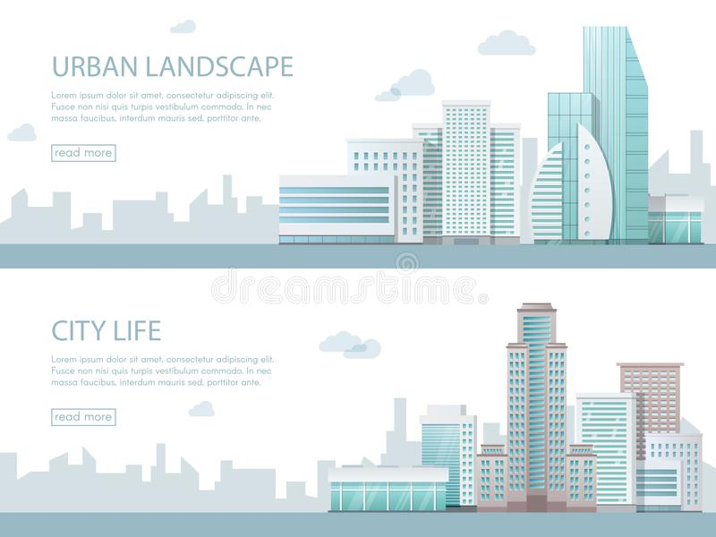 Web banner modern vector illustration of urban landscape with buildings, shop and stores, transport. Flat city. Web banner modern vector illustration of urban royalty free illustration