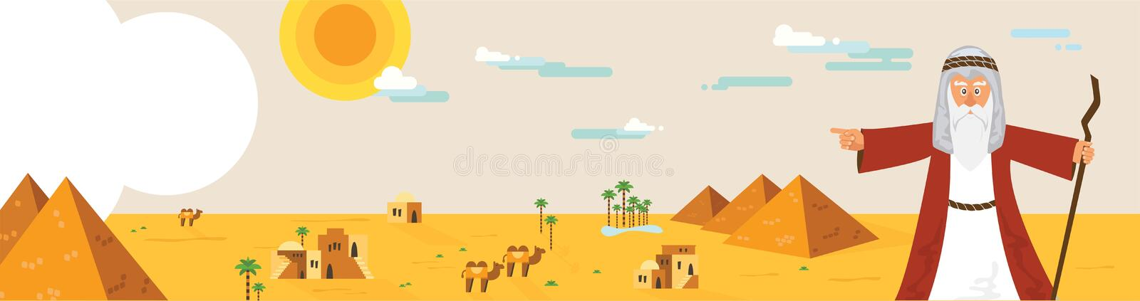 Web banner with Moses from Passover story and Egypt landscape . abstract design vector illustration. Web banner with Moses from Passover story and Egypt stock illustration