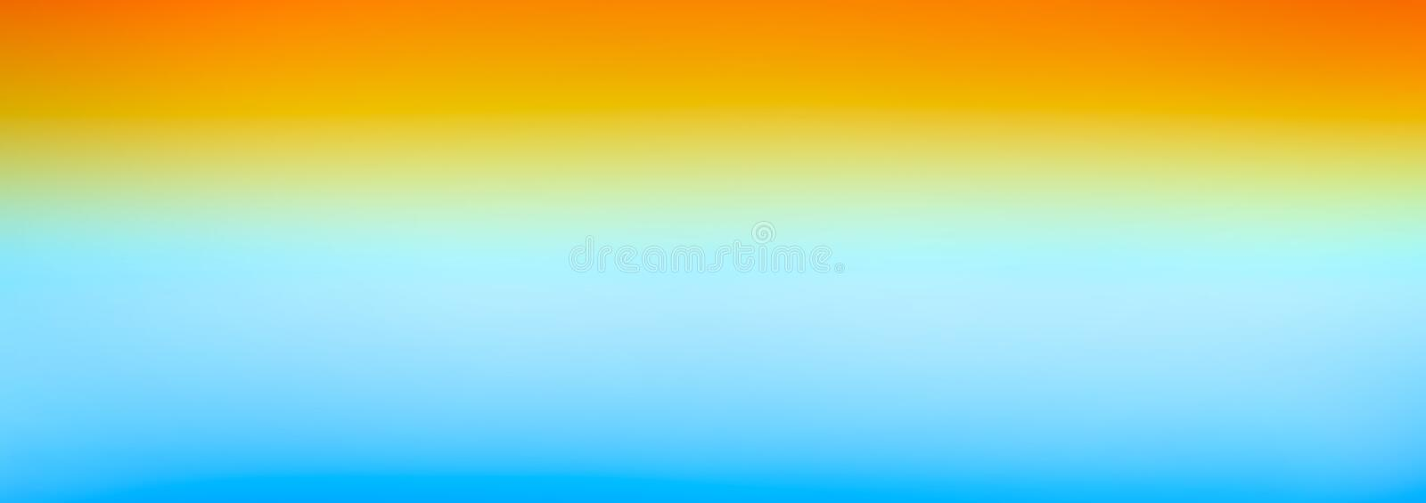 Web banner orange yellow blue bright gradient colorful horizontal watercolor texture background. Sunrise or sea sunset blurred b royalty free illustration