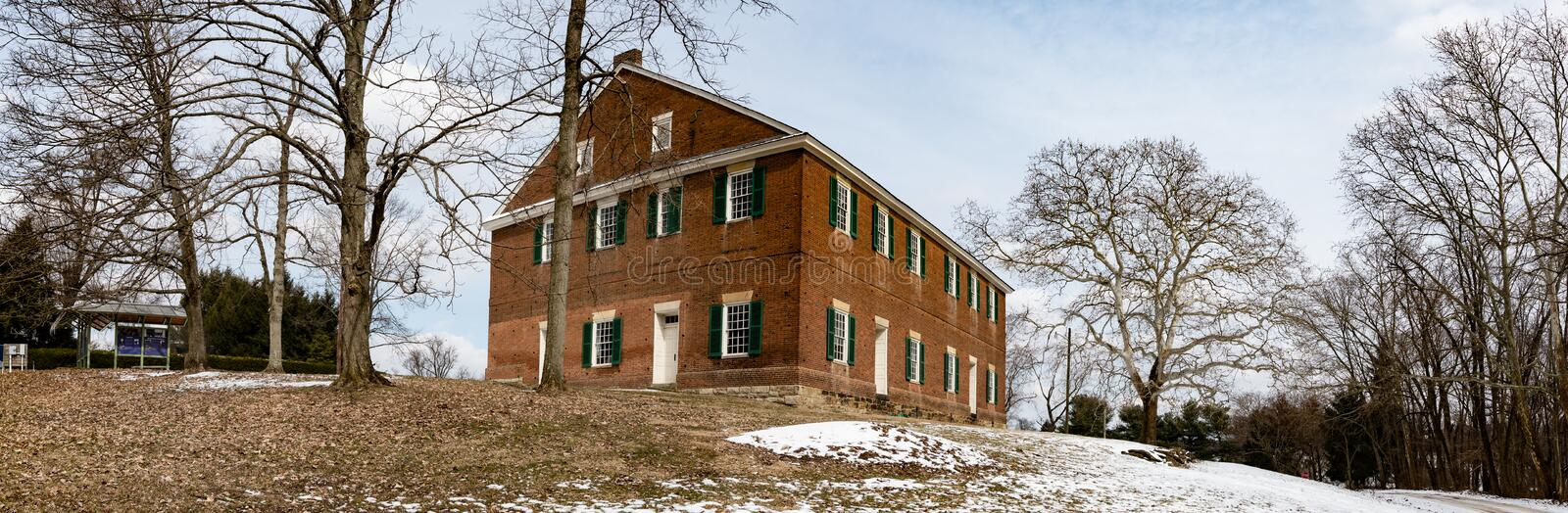 Web banner of Quaker Meeting House in Mt. Pleasant. Mt. Pleasant, Ohio/USA-March 7, 2019: Web banner of the historic Quaker Meeting House on the hill. Mount stock images