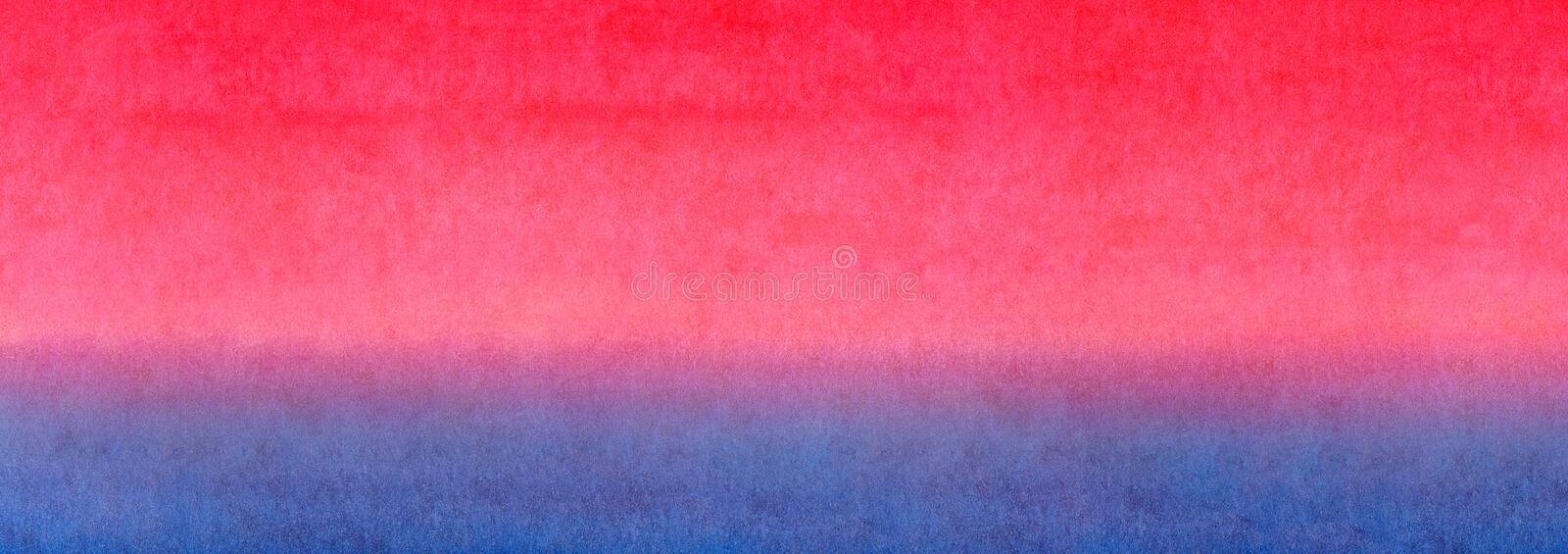 Web banner Red orange yellow blue bright gradient colorful horizontal banner watercolor texture background. Sunrise or sea sunset stock photo