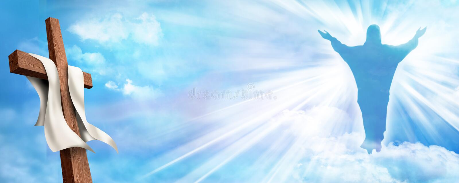 Web banner Resurrection. Christian cross with risen Jesus Christ and clouds sky background. Life after death stock photography