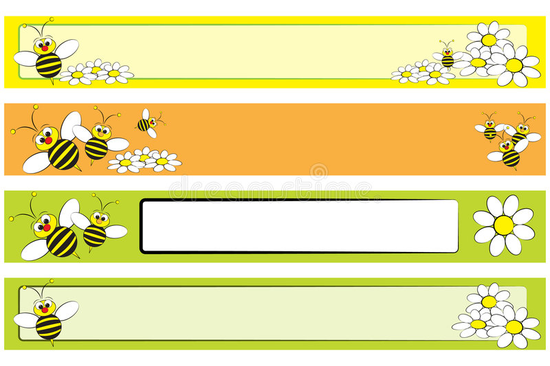 Web Banner set - Bee and daisies for children vector illustration