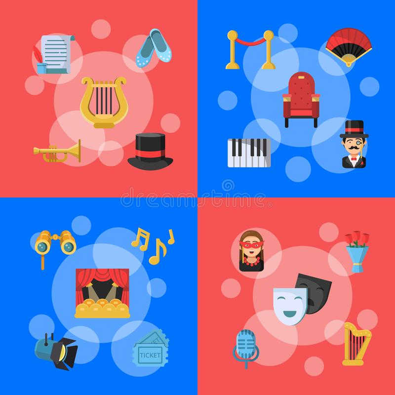 Vector flat theatre icons infographic concept illustration royalty free illustration
