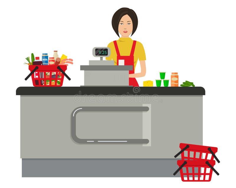 Cashier Cartoons: Web Banner Of A Supermarket Cashier Stock Vector