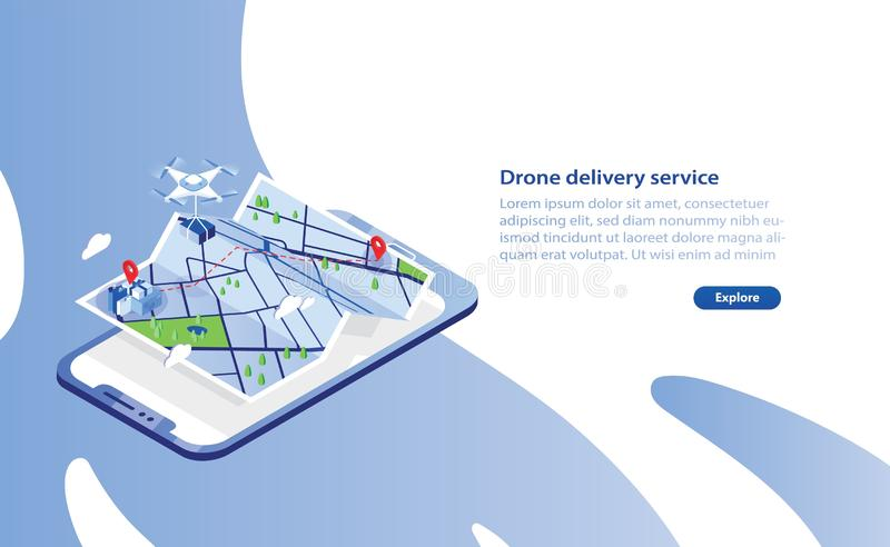 Web banner template with drone carrying box and flying above city map and giant smartphone. Delivery service with royalty free illustration