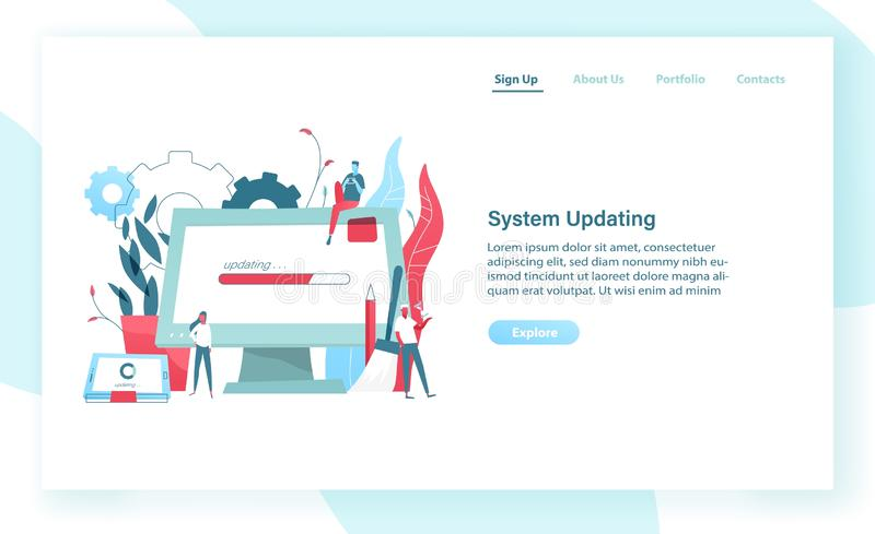 Web banner template with giant computer display and tablet PC with progress bar on screen and tiny people. System update stock illustration