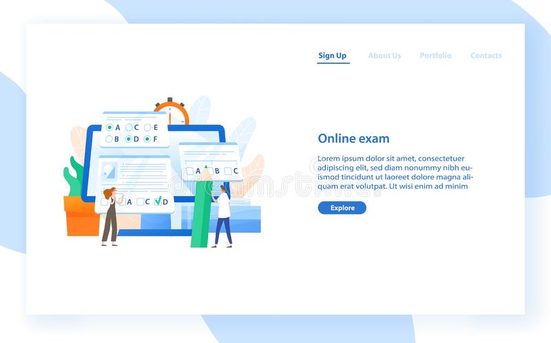 Web banner template with giant computer and tiny students passing internet test. Online exam, distant learning or. Education. Modern flat vector illustration stock illustration