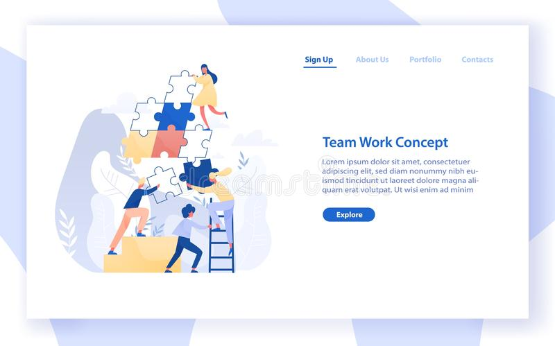 Web banner template with group of tiny office workers or colleagues assembling together giant jigsaw puzzle pieces royalty free illustration