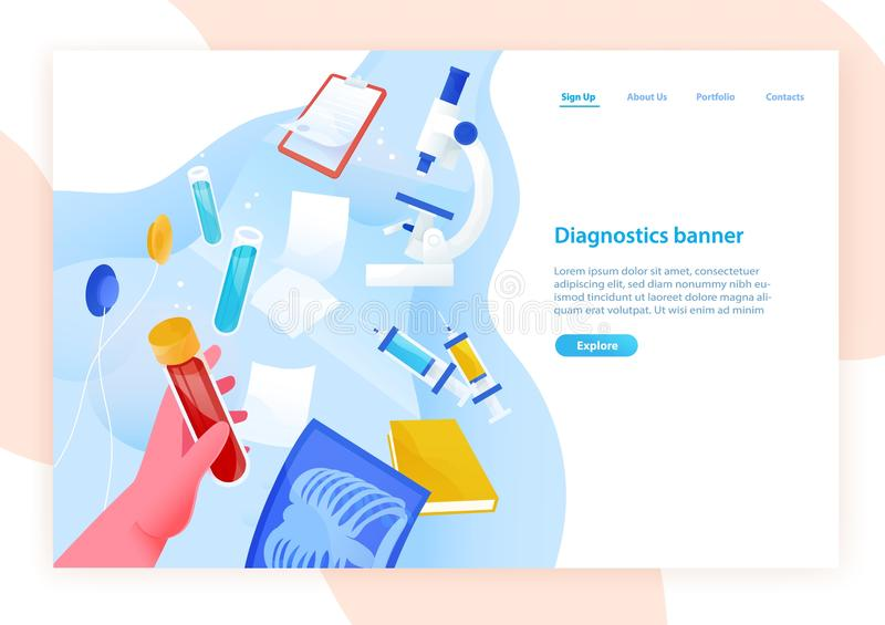 Web banner template with hand holding test tube with blood, medical laboratory tools and place for text. Colored vector stock illustration