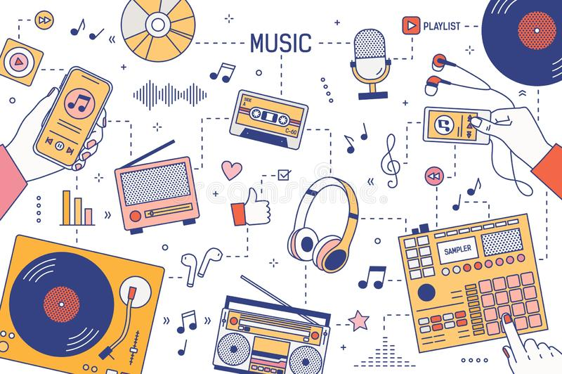 Web banner template with hands and devices for music playing and listening - player, boombox, radio, microphone. Earphones, turntable, smartphone, vinyl stock illustration