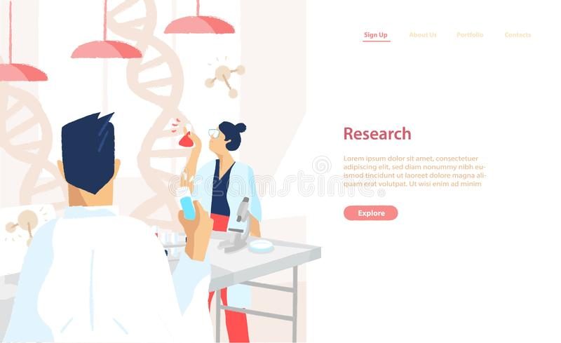 Web banner template with pair of scientists wearing white coats conducting experiments and scientific research in. Science laboratory. Vector illustration for vector illustration