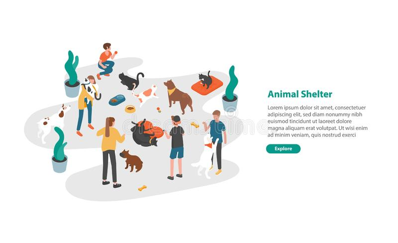 Web banner template with people or volunteers feeding pets and playing with them in animal shelter, pound. Rehabilitation or adoption center for cats and dogs royalty free illustration