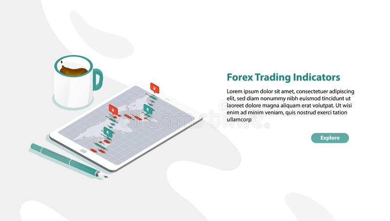 Web banner template with tablet PC and foreign exchange market rate graph or Forex trading indicators on screen, pen. Cup of coffee. Isometric vector stock illustration
