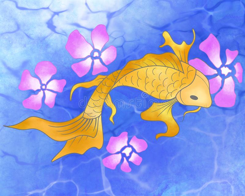 Web banner Watercolor style Ocean background with Koi fish and flowers stock illustration