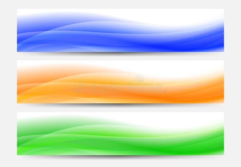 Web Banners Background in blue, orange and green royalty free illustration