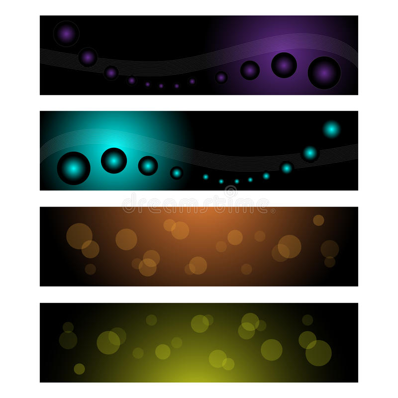 Web banners or headers. Set of four web banners or headers isolated on white background.EPS file available