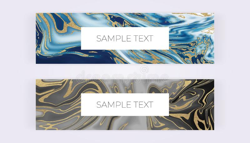 Web banners with liquid marble texture. Grey, blue and golden glitter ink painting abstract pattern. Modern templates for invitati stock illustration