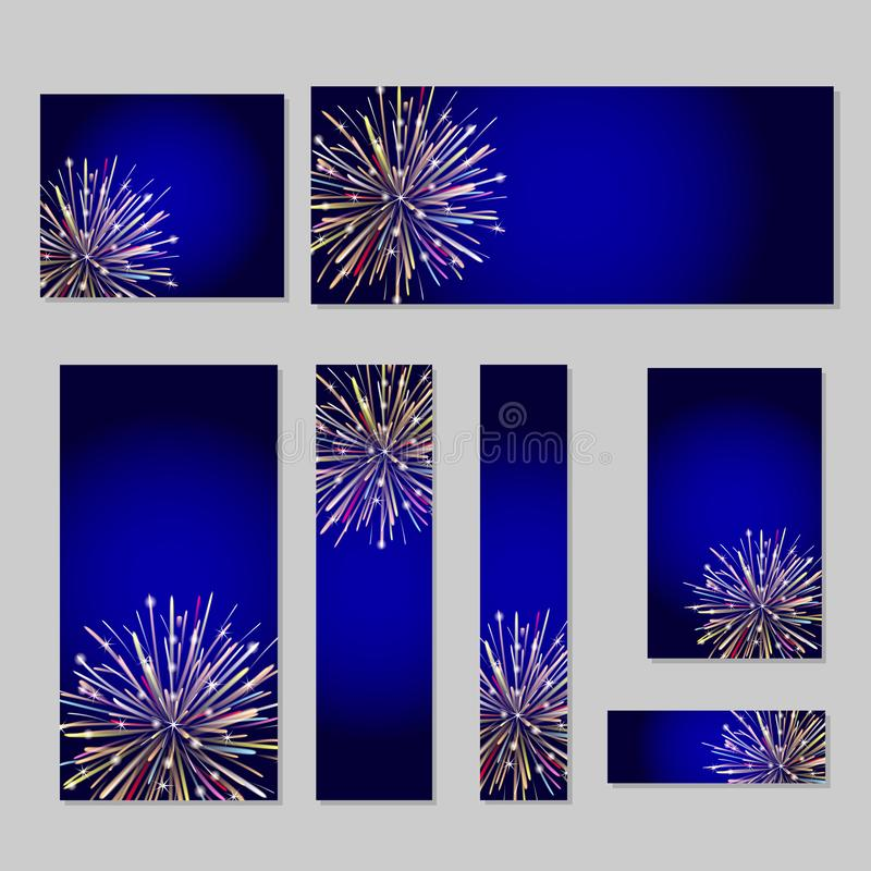 Web banners set with firework. Vector illustration royalty free illustration