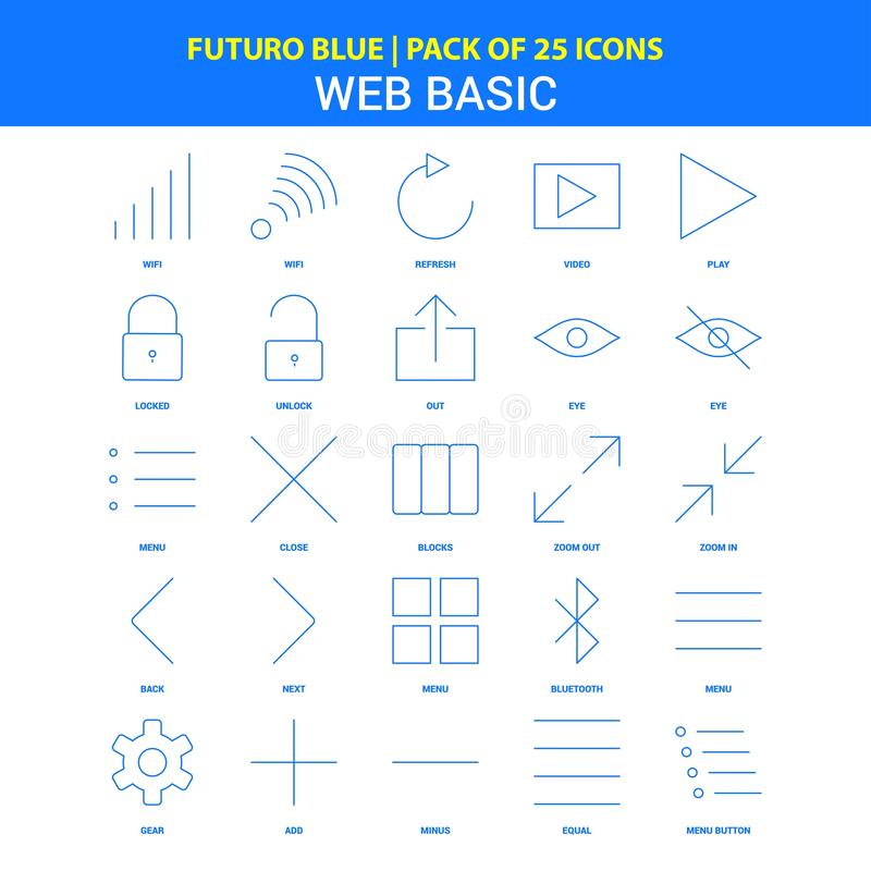 Web Basic Icons - Futuro Blue 25 Icon pack vector illustration
