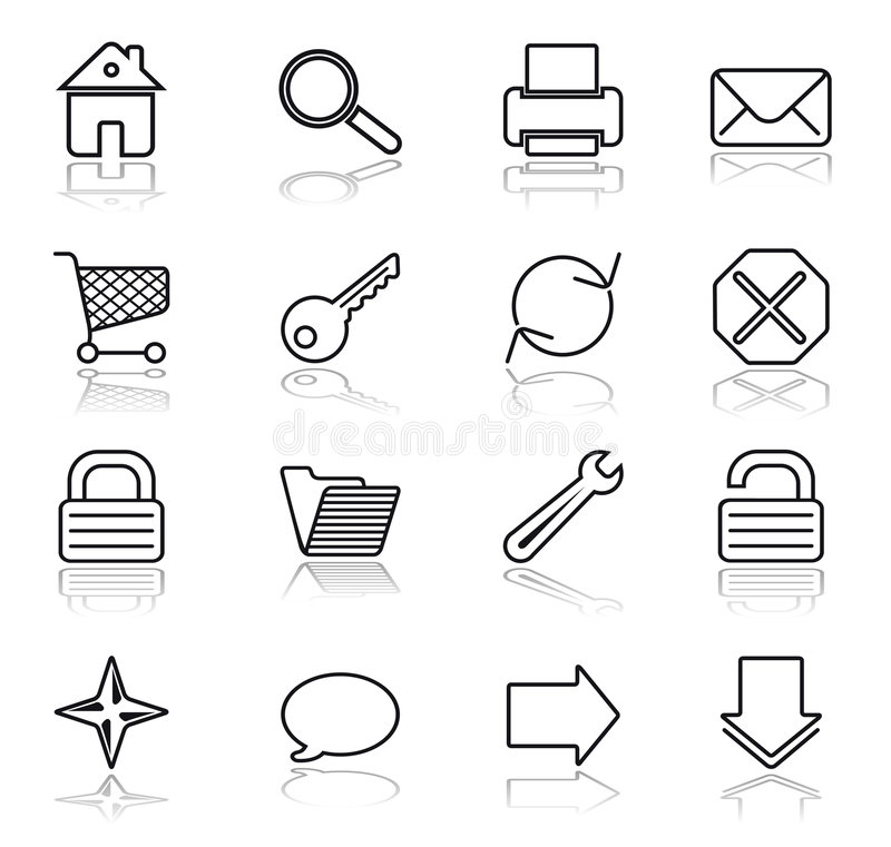 Web black on white icons vector illustration