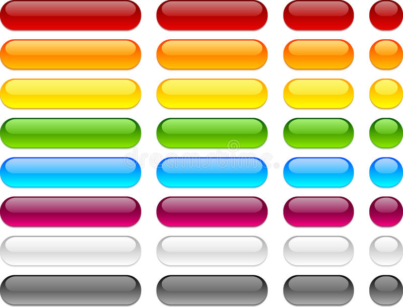 Web blank buttons. Long and short web buttons vector illustration