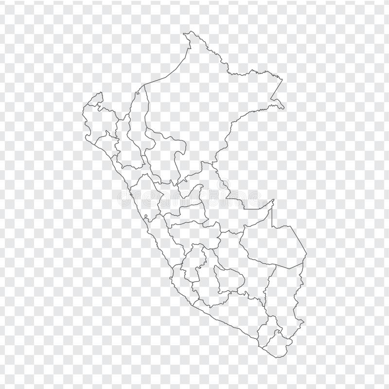 Blank map  Peru. High quality map  Peru with provinces on transparent background for your web site design, logo, app, UI. Stock vector. Vector illustration royalty free illustration